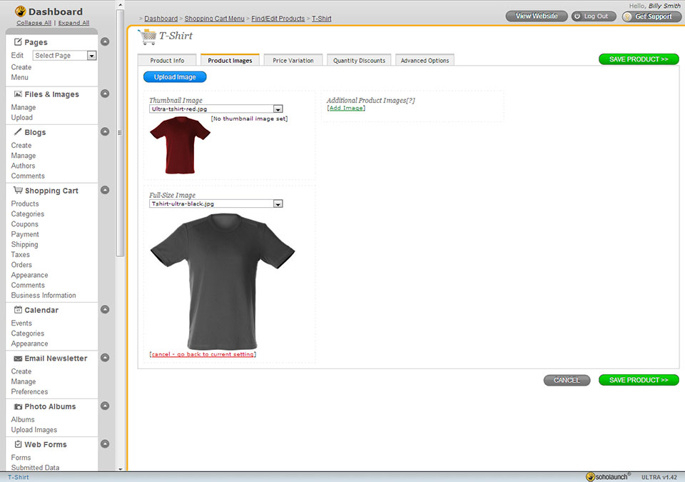 Picture of the Soholaunch Shopping Cart feature, selecting a product image
